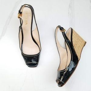 PRADA VERNICE Slingback Peep Toe Wedge Heels Black